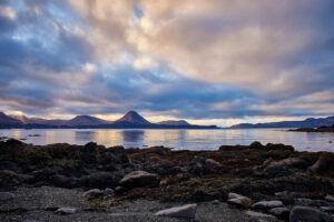 rocky beach; water; islands