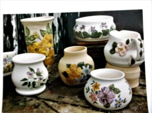 handmade pottery from our studio (floral paintings)