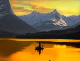 sunset; water; mountains